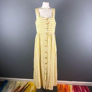 Rachel Zoe yellow striped linen maxi dress